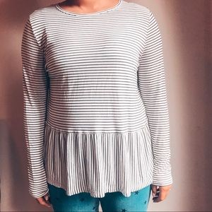 Old Navy Striped Peplum Top Large